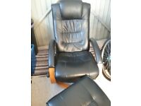 Black Leather & Wood Reclining Chair with Footstool