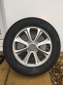 Brand new I10 14 inch alloy wheel with new continental tyre