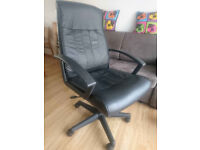 black leather office swivel chair immaculate condition