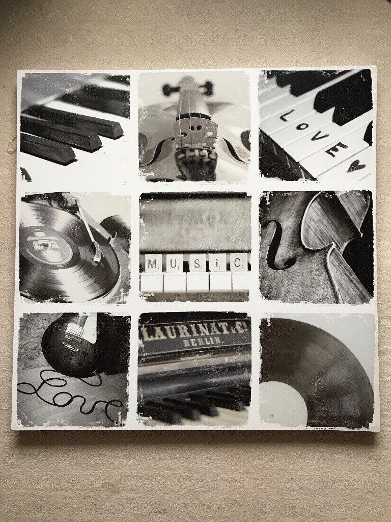 Stylish, large music-themed picture canvas. Excellent condition