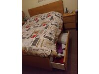 Double bed - Including mattress and 4 drawers - very good condition