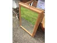 LOVELY CHUNKY FRAMED PINE BEVEL EDGED MIRROR - CAN DELIVER