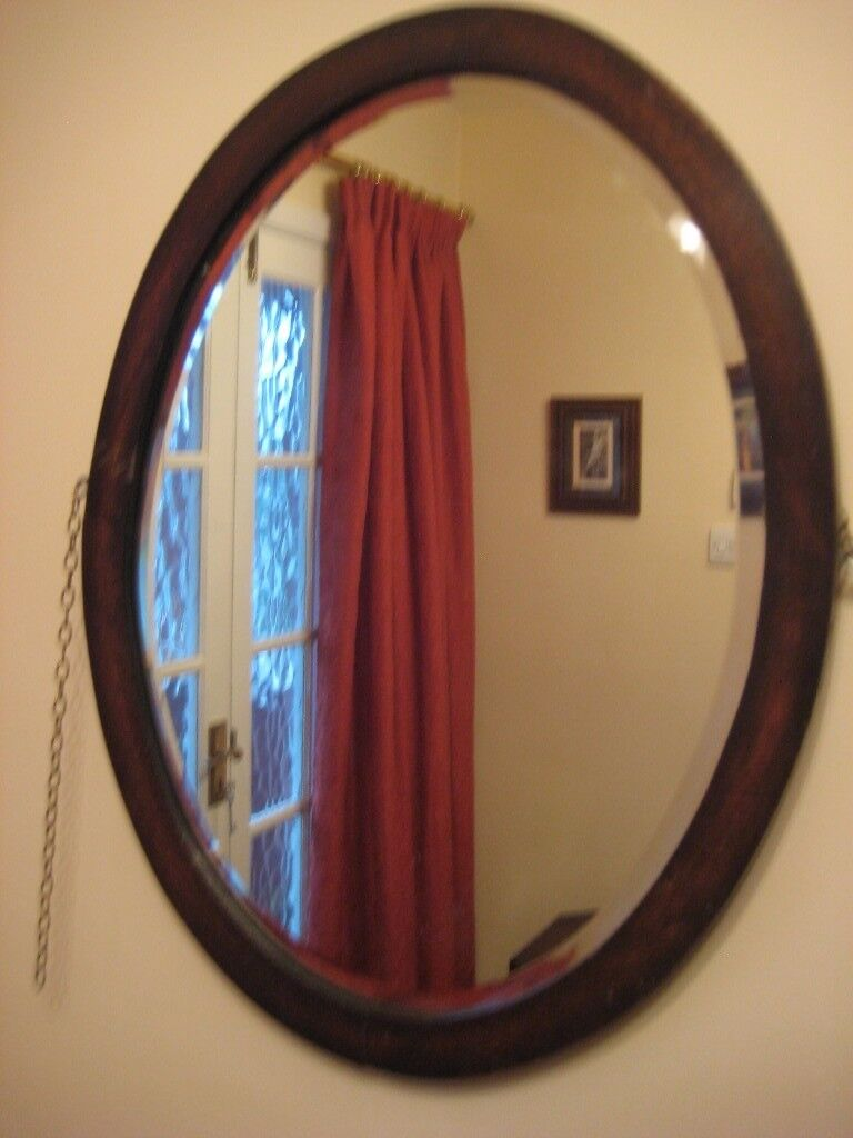 Genuine Vintage, Dark Wood Framed, Bevelled Edge, Oval Mirror with Chain £15