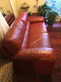 Beautiful red leather 2x3 seater sofas in excellent condition