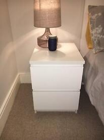 2 x Malm bedside cabinets