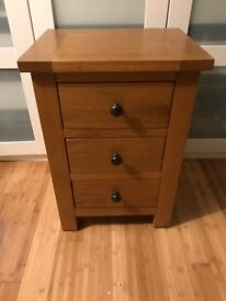 Solid oak bedside cabinet with three drawers