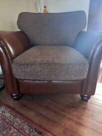 Armchair, faux leather and fabric £40 ONO