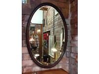 VINTAGE ANTIQUE VICTORIAN LARGE OVAL ENGRAVED BEVELLED MAHOGANY WOODEN MIRROR