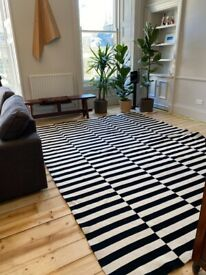 IKEA STOCKHOLM Rug, flatwoven, handmade/striped black/off-white250x350 cm