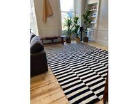 IKEA STOCKHOLM Rug, flatwoven, handmade/striped black/off-white250x350 cm