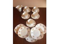"""Royal Worcester Evesham Vale Dinner Set Bone China 5 piece Cup and Saucers & 5 x 6"""" Side Plates £20"""