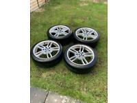 """3x Genuine BMW 18"""" 261m Alloy Wheels And Tyres"""