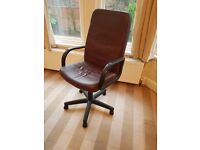 2 brown swivel office chairs faux leather good condition