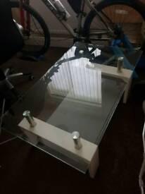 Stylish Glass Coffee Table/ White & Chrome