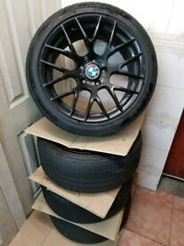 "Set of x4 BMW 18"" CSL Style Gloss Black Alloy Wheels with Tyres"