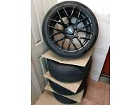 """Set of x4 BMW 18"""" CSL Style Gloss Black Alloy Wheels with Tyres"""