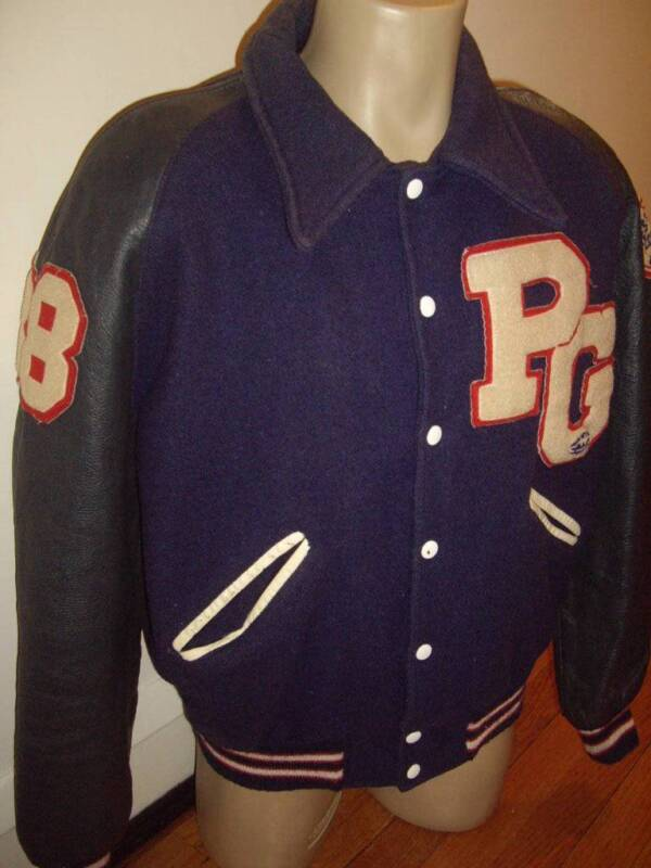 Vintage 80s Howe Athletic SEWN Letterman Football Snap Button Jacket Size Large