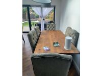 6 Grey velvet button back dining chairs