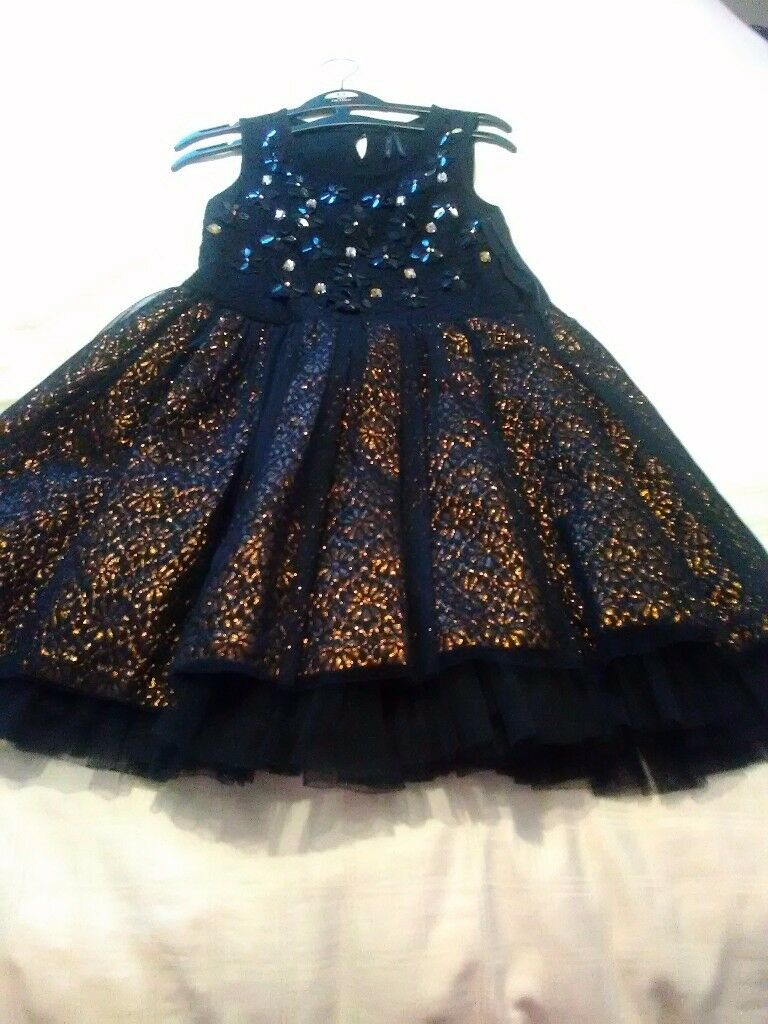 Next girls black/gold sequence dress 9 with black frilly underskirt 9 years