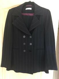 Women's black pinstripe suit size 10