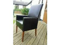Leather look high back chair