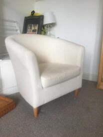 Single white arm chair