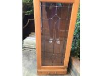 Heavy glass display cabinet with drawer. & two glass shelves