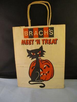 Halloween Lanterns Paper Bags (Vtg RARE Brach's Halloween Black Cat Jack-o-Lantern Trick or Treat Paper Bag)