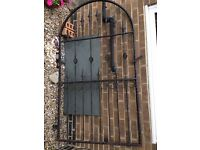 Excellent quality black ornate metal garden gate - used