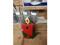 Christmas candle bird box