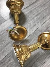 Pair vintage British brass spotlights, wall lights, adjustable.