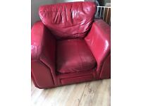 Red leather armchair from SCS, square shape