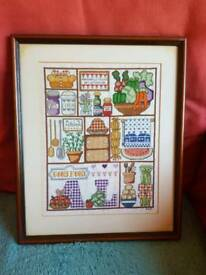 Framed cross stitch good food picture