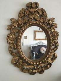 Rococo ornate antique handcarved frame oval wall mirror