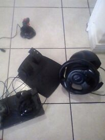 Ps2 and controllers and game and Microsoft side winder precision racing wheel