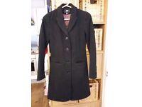 H&M BLACK SMART SLIM LONGLINE COAT SIZE 32/6 XS