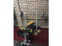 Bench weights and bar good condition