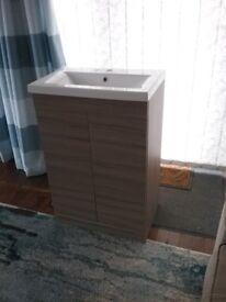 New Premier Shipton 'Driftwood' 2 door Floor 600mm Standing Vanity Unit with basin