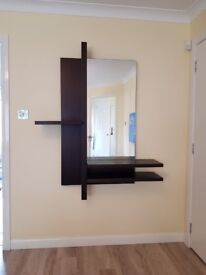 Wall Centrepiece Shelves and Mirror (Comes with Matching Coffee Table Sold Seperately)