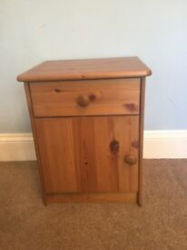 One Solid Pine Bedside - Cupboard & Single Drawer H21in/54cm W17in/43cm D15in/38cm