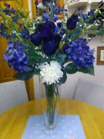 COLLECTION OF SILK EVERLASTING FLOWERS, IN SHADES OF BLUES AND LILAC
