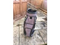 Golf Cart Bag - Good condition - Blue in colour - includes club tidy