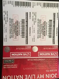 2 x Standing Tickets For Depeche Mode London Stadium, Saturday 3rd June 2017