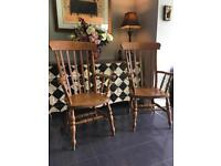 Solid pine/beech Grandfather carver high back chair