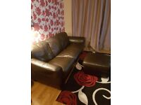 3 seater Italian hand made leather sofa and matching footstool