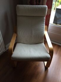 2 x Ikea beach wood and cream chairs
