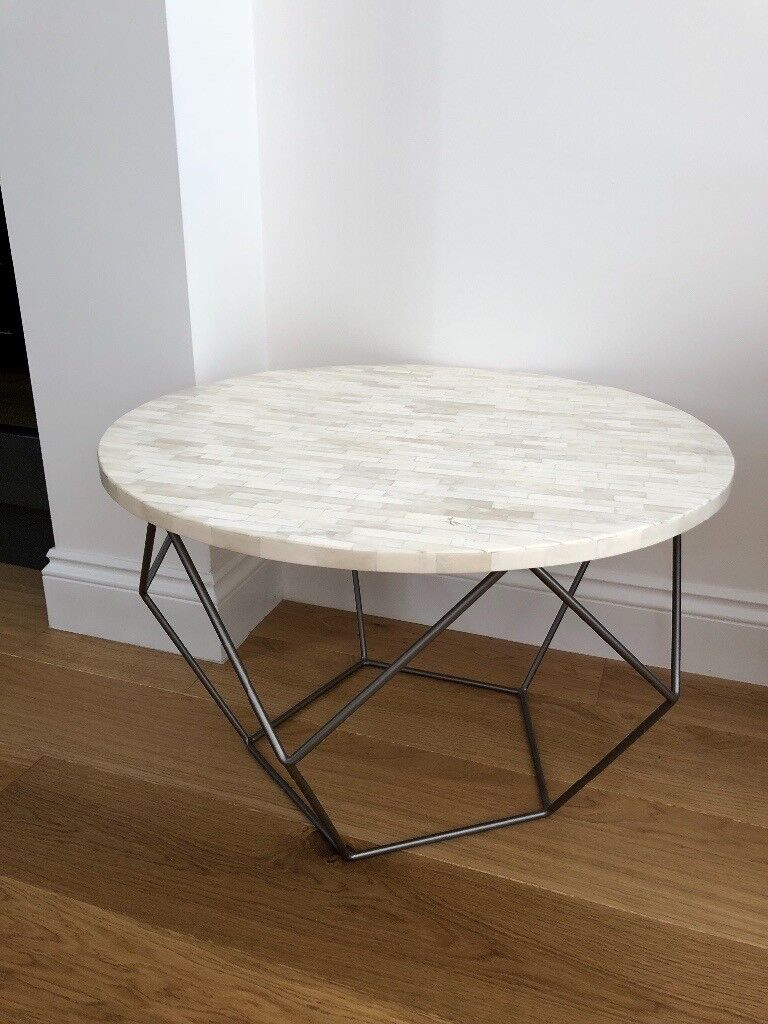West Elm Round Coffee Table Bone Top And Metal Base In Clapham