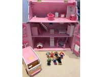 ELC doll house with furniture, dolls and camper van