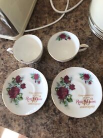 Duchess Bone China Ruby Anniversary Teacups and Saucers
