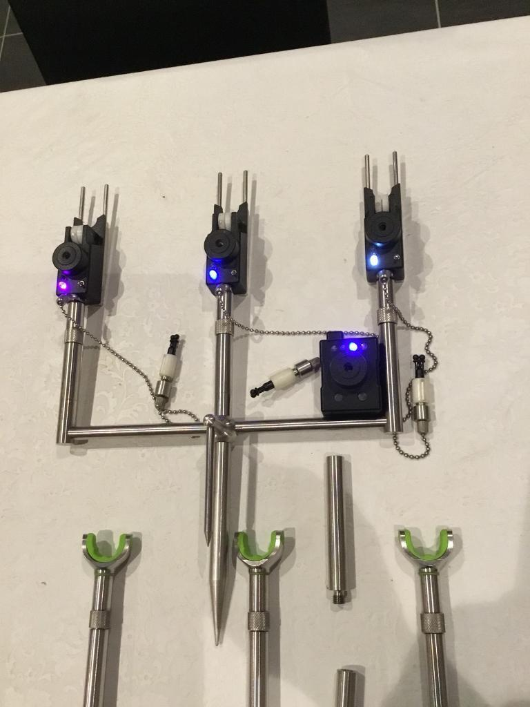 Steve Neville mark 3 alarms with receiver ,Korda singles Stainless.,jag ears and back rest